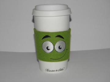 Coffee to go Becher mit Filzmanschette bestickt, Gesicht, Keramikbecher, doppelwandig, Dieda! - Handarbeit kaufen