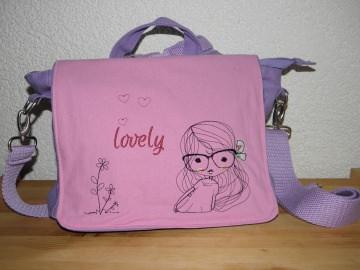 Kindergartentasche, Rucksack, Kinderrucksack, Canvastasche, Canvasrucksack bestickt, Cute girl, Dieda - Handarbeit kaufen