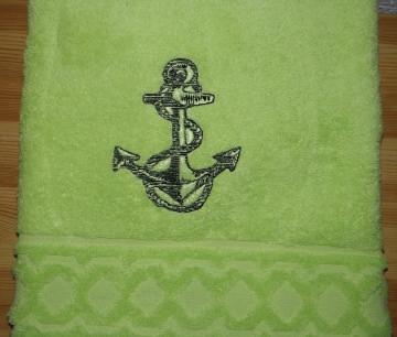 Handtuch bestickt mit Name und Anker, personalisiert, maritim, Dieda - Handarbeit kaufen