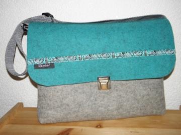 Musikschultasche aus Wollfilz mit Webband, Kindertasche, Umhängetasche, Kindergartentasche, von Dieda