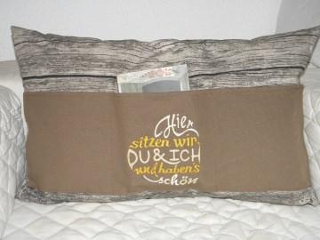 Sofakissen, Dekokissen 40 x 60 cm mit 3 Taschen, Fächer, für Buch, Fernbedienung von Dieda
