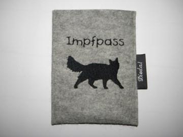 Hülle für Katzenimpfpass, personalisiert, Wollfilz, Impfpasshülle, Dieda