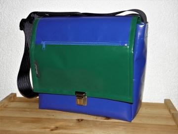 Umhängetasche aus LKW-Plane, blau und grün, Plane, Planentasche, Reißverschlussfach, eine Dieda
