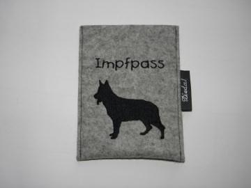 Hülle für Hundeimpfpass zum Einstecken, Wollfilz, personalisiert von Dieda