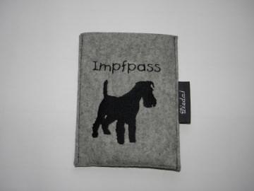Hundeimpfpasshülle aus Wollfilz zum Einstecken, bestickt personalisiert, dieda