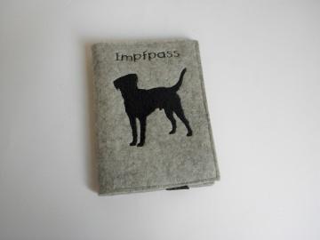 Impfpasshülle für Hunde aufklappbar mit Fach für Visitenkarten, Heimtierimpfpasshülle, aus Wollfilz von Dieda - Handarbeit kaufen
