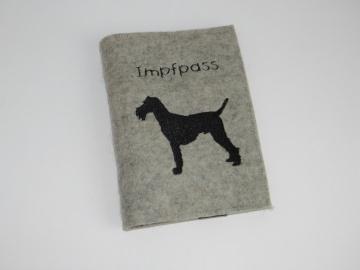 Impfpasshülle für Hunde aufklappbar mit Fach für Visitenkarten, Wollfilz, Dieda! - Handarbeit kaufen