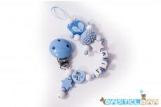 Personalisierte Schnullerkette -Fuchs Tim in blau-