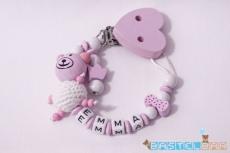 Personalisierte Schnullerkette -Bär Emma in rosa-