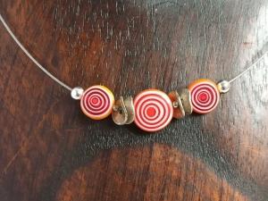Halskette Millefiori Kreise orange-rot-weiß - Handarbeit kaufen