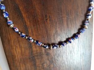 Zierliche Halskette Millefiori blau bunt - Handarbeit kaufen