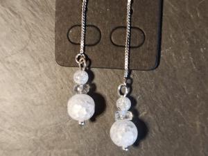 Ohrringe Durchfädler/-Zieher mit Bergkristall - Handarbeit kaufen