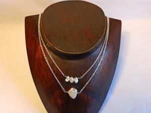 Layerkette zweisträngig Keshi-Perlen in weiß - Handarbeit kaufen