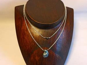 Layerlette zweisträngig Keshi-Perlen grau-violett - Handarbeit kaufen