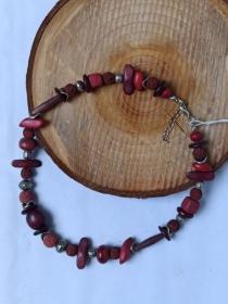 Halskette Materialmix Lava, Holz, Metall weinrot - Handarbeit kaufen