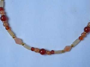 Zierliche Halskette Karneol, Aventurin, Orangen-Calcit - Handarbeit kaufen