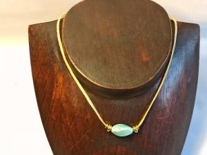 Seidenband-Kette mit Keramikperle in hellblau/aqua - Handarbeit kaufen