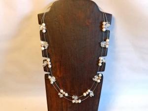 Zweisträngige Halskette Zuchtperlen u. Bergkristall - Handarbeit kaufen