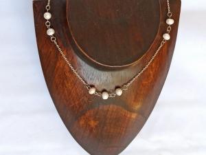 Halskette mit Zuchtperlen in weiß - Handarbeit kaufen