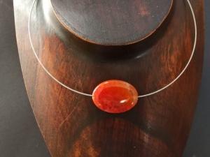 Halsreif Collier mit Feuerachat-Oval - Handarbeit kaufen