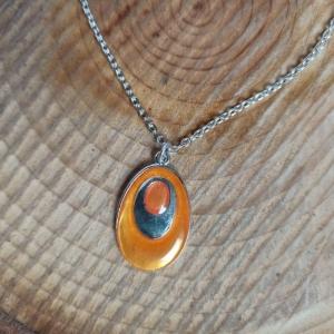 Halskette mit Emaille-Anhänger Oval orange - Handarbeit kaufen