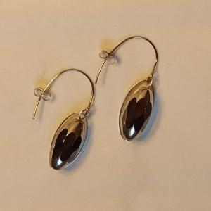 Ohrhänger  fac. Glasperle silber-schwarz - Handarbeit kaufen