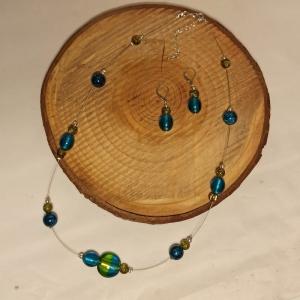 Schmuckset Kette mit Ohrringen Lampwork meerfarben - Handarbeit kaufen