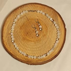 Schmuckset Kette mit Ohrringen Bergkristall-Würfel gecrasht - Handarbeit kaufen