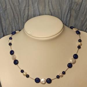 Halskette Biwa und Lapislazuli blau-weiß - Handarbeit kaufen