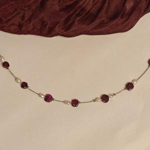 Zierliche Halskette Granat und Zuchtperlen  - Handarbeit kaufen