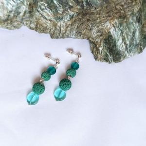 Ohrstecker -zum Beduften- Lava-, Glasperlen aqua mintgrün - Handarbeit kaufen