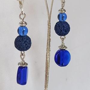 Ohrhänger -zum Beduften- mit Lava- u. Glasperlen in blau - Handarbeit kaufen