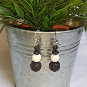 Ohrhänger zum Beduften Lavaperlen schwarz weiß - Handarbeit kaufen