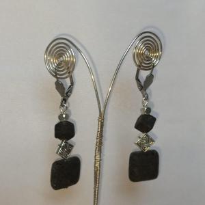 Ohrhänger -zum Beduften- mit Lavaperlen schwarz silber - Handarbeit kaufen