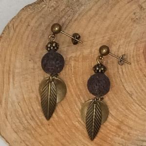 Ohrstecker -zum Beduften- mit Lava- und Metallperlen in antik-bronze - Handarbeit kaufen