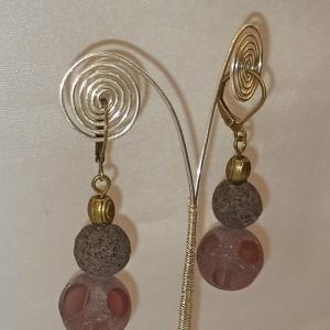 Ohrhänger -zum Beduften- mit Lava- und Bullaugen-Glasperlen dunkelbraun - Handarbeit kaufen