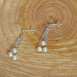 Zierliche Ohrhänger mit weißen Zuchtperlen Sterlingsilber - Handarbeit kaufen