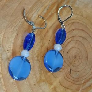 Ohrhänger venez. Glaskunst Murano-Glasperlen in blau - Handarbeit kaufen