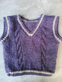 gestrickter Baby-Pullunder im Retrolook, Gr. 62/68  - Handarbeit kaufen