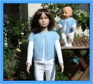 Edles Strickjäckchen für Kind (Gr.104) und Puppe (Gr. 43 cm)