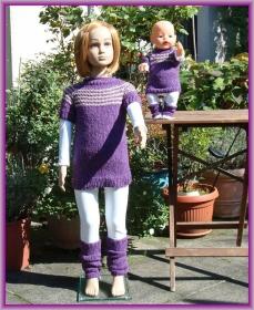 Handgestrickter Longpullover mit passenden Stulpen für Kind  (Gr. 104) und Puppe (Gr. 43)