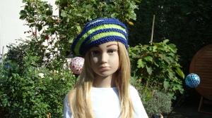handgestrickte Baskenmütze, blau-grün gestreift aus Baumwolle