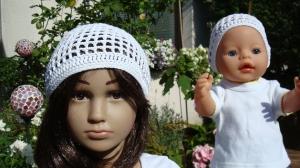 gehäkeltes Sommer-Mützchen aus Baumwolle für Kind und Puppe - Handarbeit kaufen