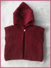 handgestrickte Baby-Weste mit Kapuze, Gr. 62/68  - Handarbeit kaufen