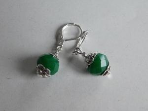 Ohrringe facettierte Perle silber grün