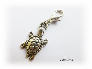 1 silberfarbener Charm mit einer Schildkröte ♡ Wechselanhänger ♡ Schmuckanhänger