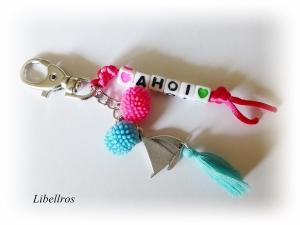 Taschenbaumler, Schlüsselanhänger mit Schriftzug ♥ Ahoi ♥