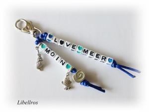 Taschenbaumler, Schlüsselanhänger mit Schriftzug ♥ L♥ve Meer u. Moin ♥