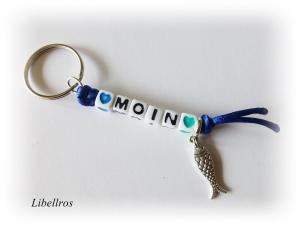 Schlüsselanhänger mit Schriftzug ♥ Moin ♥ und Metallanhänger Fisch