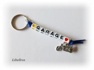 Schlüsselanhänger mit Schriftzug ♥ Garage ♥ und Metallanhänger Motorrad